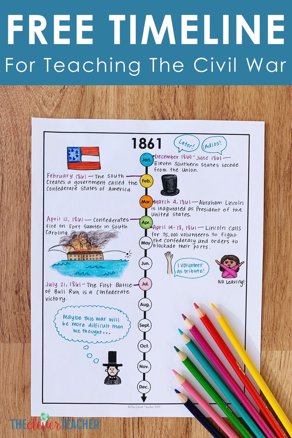 How To Teach The Civil War With Timelines Free Worksheet